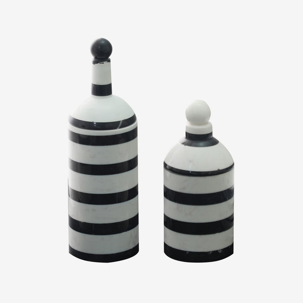 Liang & Eimil, Luxury Home Accessories, Jar, Black, White, Stripes, Marble