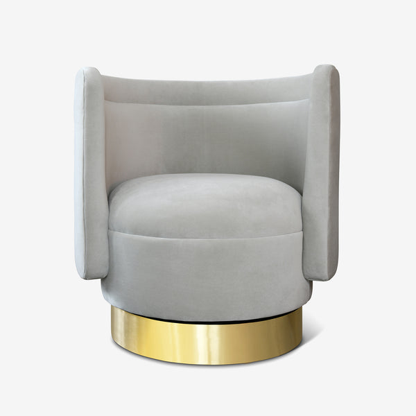 Bazaar, Velvet Swivel Armchair, Brass Base, Light Grey, Contemporary Interiors, Luxury Furniture