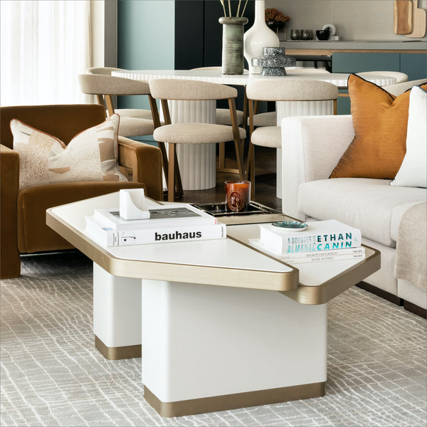 Bazaar, Coffee Table, Contemporary Design, Luxury Furniture, Brass Details, White Lacquer