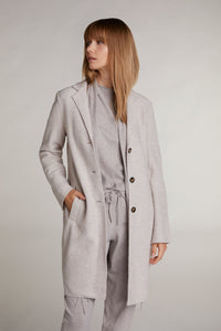 Oui Off White Melange Boiled Wool Coat