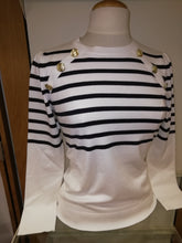 Load image into Gallery viewer, Emme White / Navy Striped Nautical Sweater