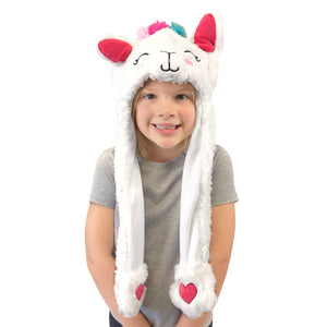 Plush Kids Llama Hat - Squeeze Paws to Move Ears