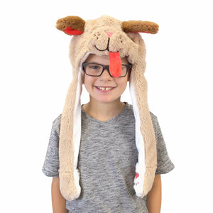 Plush Kids Puppy Dog Hat - Squeeze Paws to Move Ears