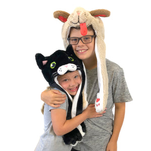 Plush Kids Black Cat Hat - Squeeze Paws to Move Ears