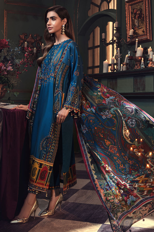 2674-PRUSSIAN-BLUE EMBROIDERED COTTON SATIN UNSTITCHED