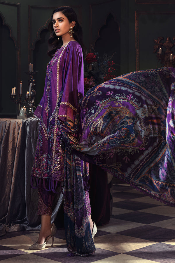 2668-VIOLET EMBROIDERED COTTON SATIN UNSTITCHED