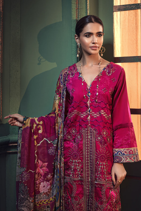 2666-FUCHSIA EMBROIDERED COTTON SATIN UNSTITCHED