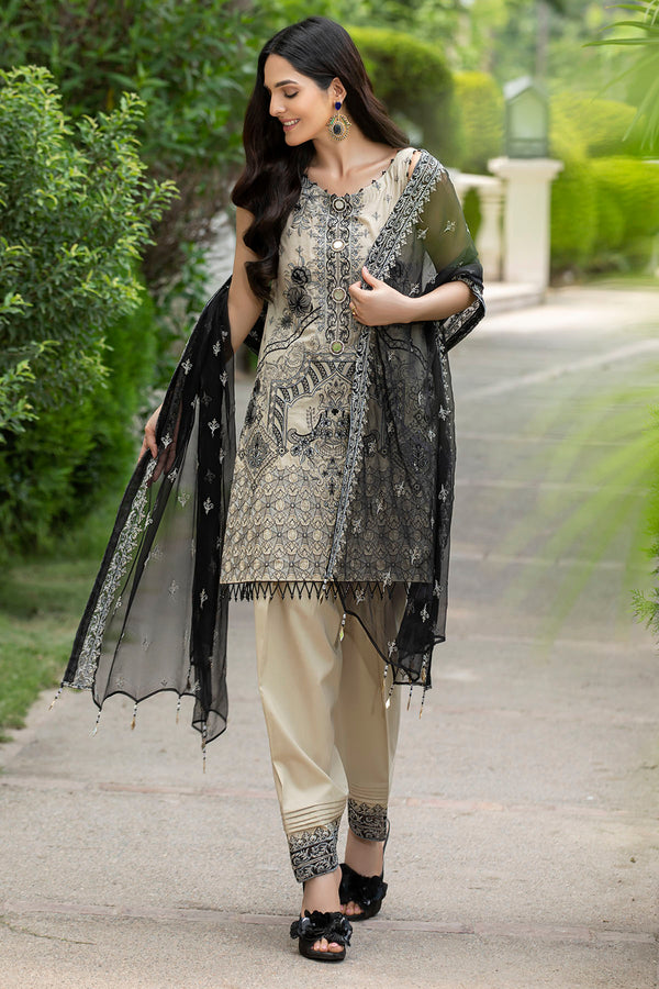2593-CHROME-WHITE EMBROIDERED LAWN UNSTITCHED