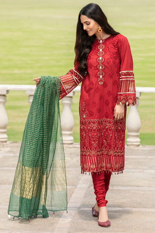 2588-GARNET EMBROIDERED LAWN UNSTITCHED
