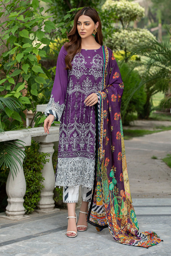 2591-DEEP-LILAC EMBROIDERED LAWN UNSTITCHED