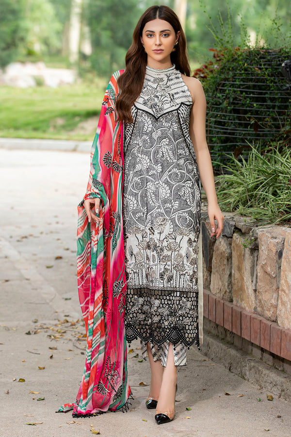 2583-WHITE-LINEN EMBROIDERED LAWN UNSTITCHED