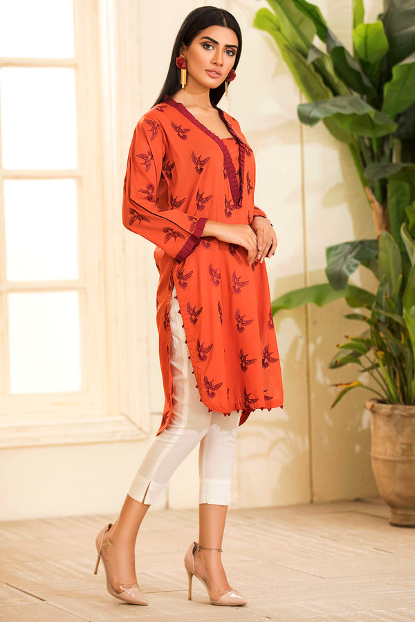 2482-ORANGE EMBROIDERED LAWN STITCHED