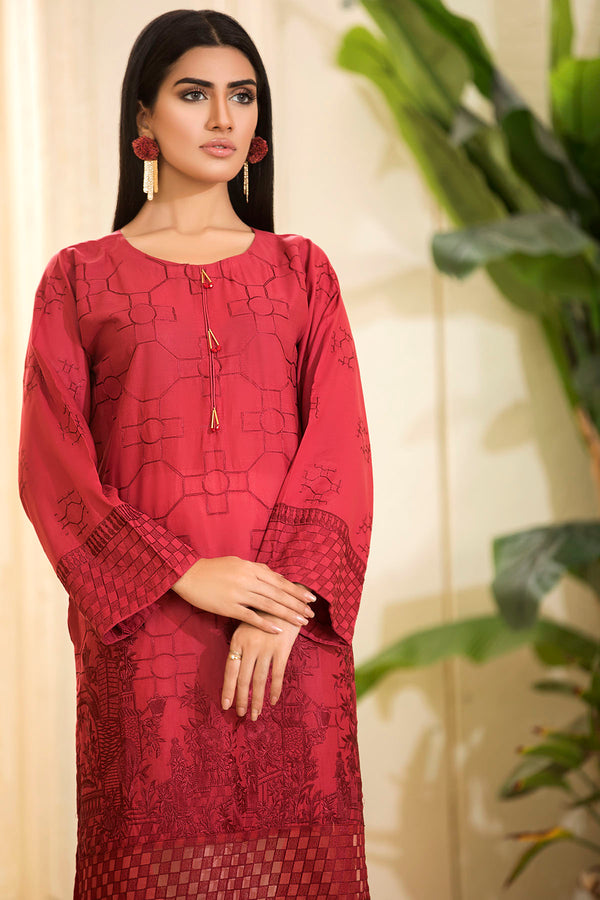 2477-MAROON EMBROIDERED LAWN STITCHED