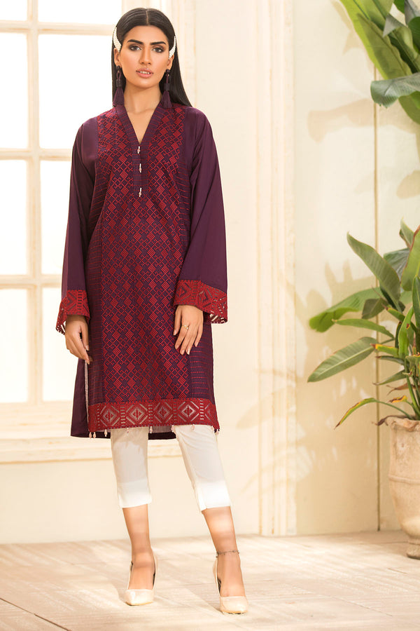2476-PURPLE EMBROIDERED LAWN STITCHED