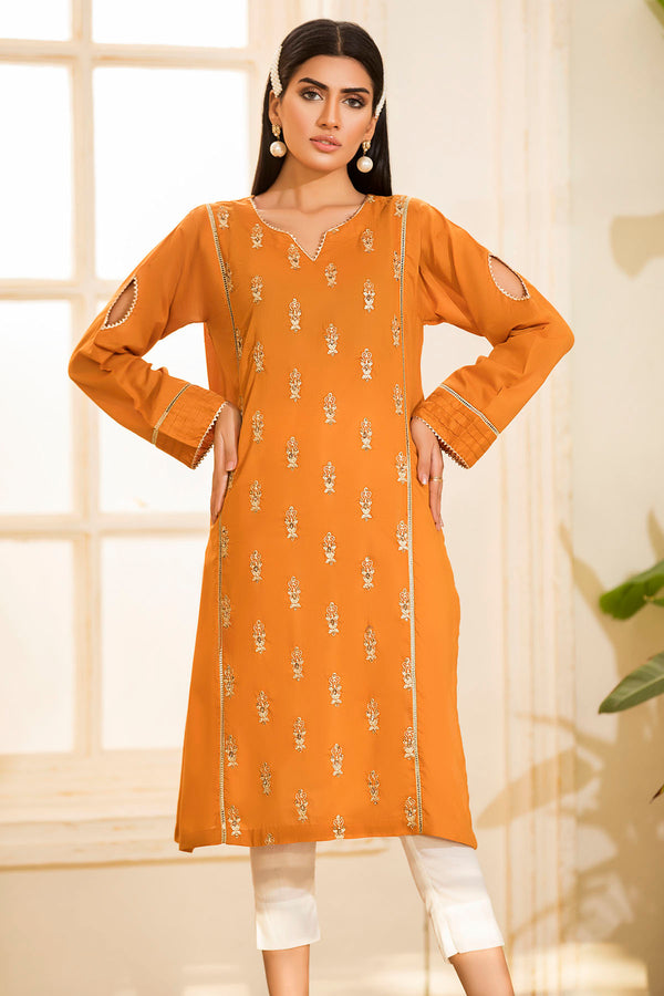 2464-MUSTARD EMBROIDERED LAWN STITCHED