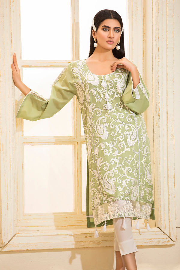 2463-APPLE-GREEN EMBROIDERED LAWN STITCHED