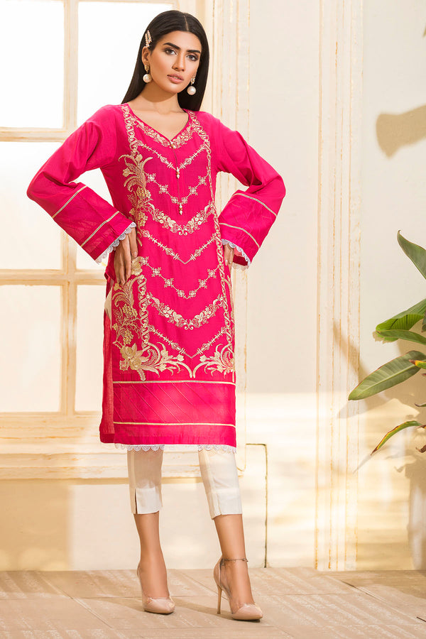 2470-HOT-PINK EMBROIDERED LAWN STITCHED
