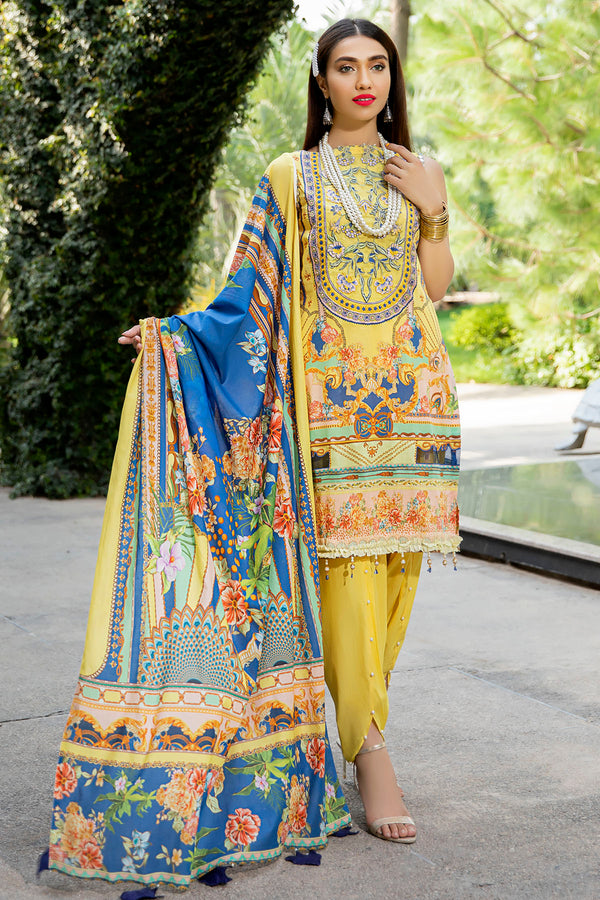2553-VEGAS-GOLD DIGITAL PRINTED LAWN UNSTITCHED