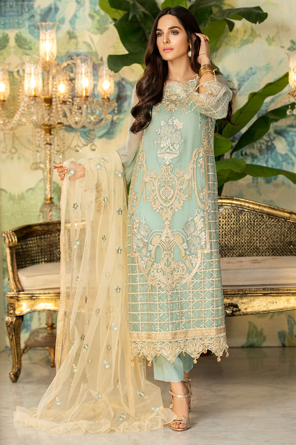 2328-MINT-TULIP EMBROIDERED BEMBERG CHIFFON UNSTITCHED