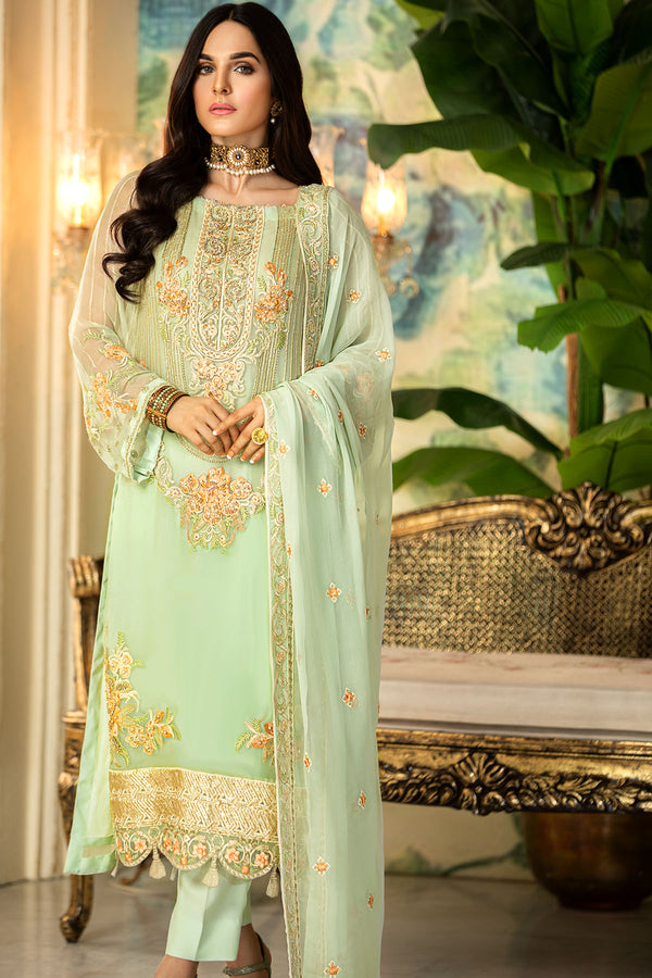 2330-SUMMER-GREEN EMBROIDERED BEMBERG CHIFFON UNSTITCHED