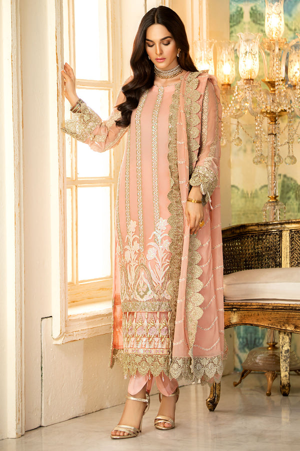 2331-PINK-FLARE EMBROIDERED BEMBERG CHIFFON UNSTITCHED
