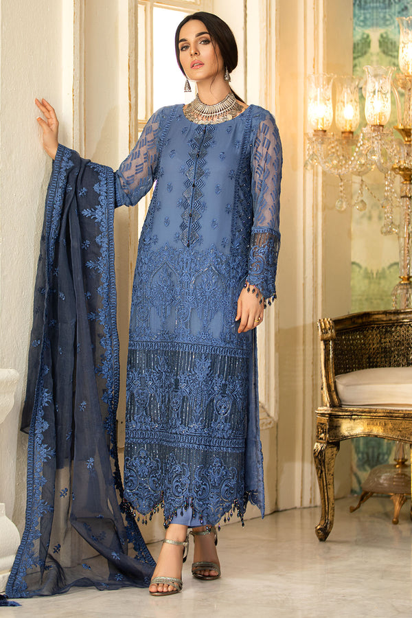 2333-TROPICAL-BLUE EMBROIDERED BEMBERG CHIFFON UNSTITCHED