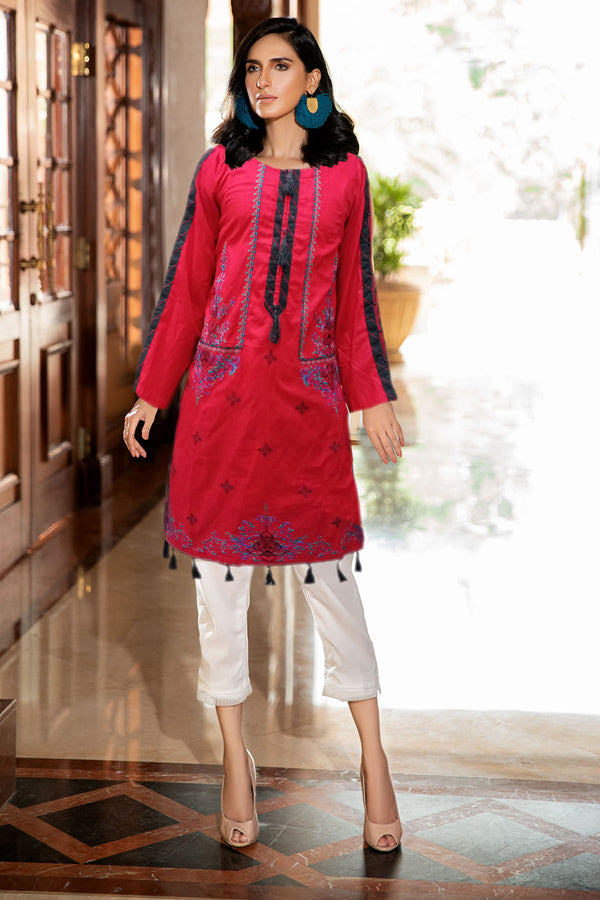 2338-PERSIAN-RED EMBROIDERED LAWN STITCHED