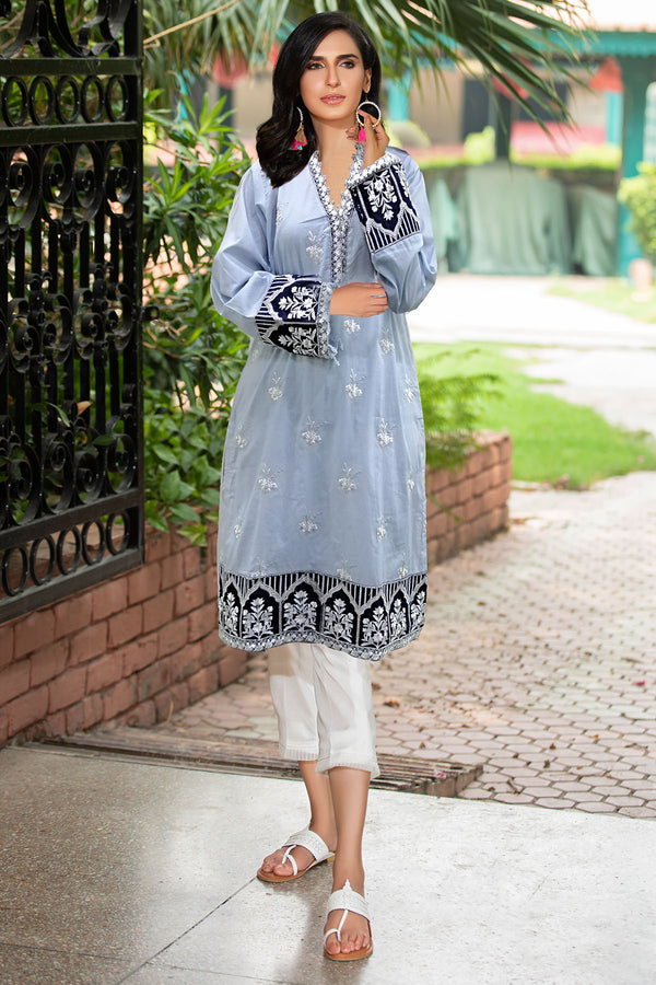 2340-GREY-NURSE EMBROIDERED LAWN STITCHED