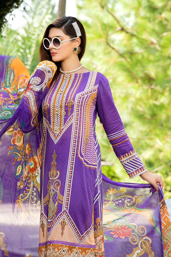2519-VIOLET DIGITAL PRINTED LAWN UNSTITCHED
