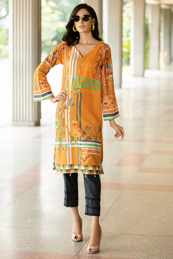 2537-HARVEST-GOLD DIGITAL PRINTED LAWN STITCHED