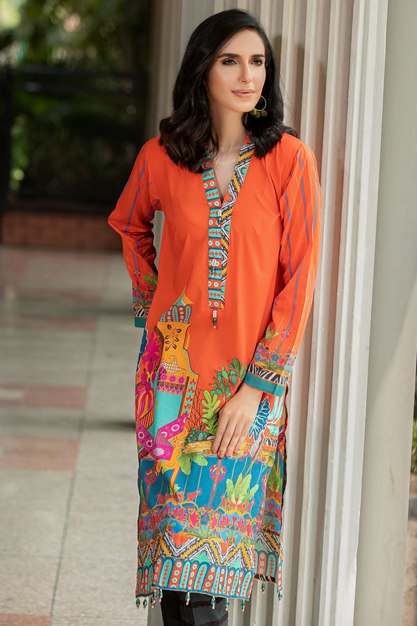 2539-SUNSET-ORANGE DIGITAL PRINTED LAWN STITCHED