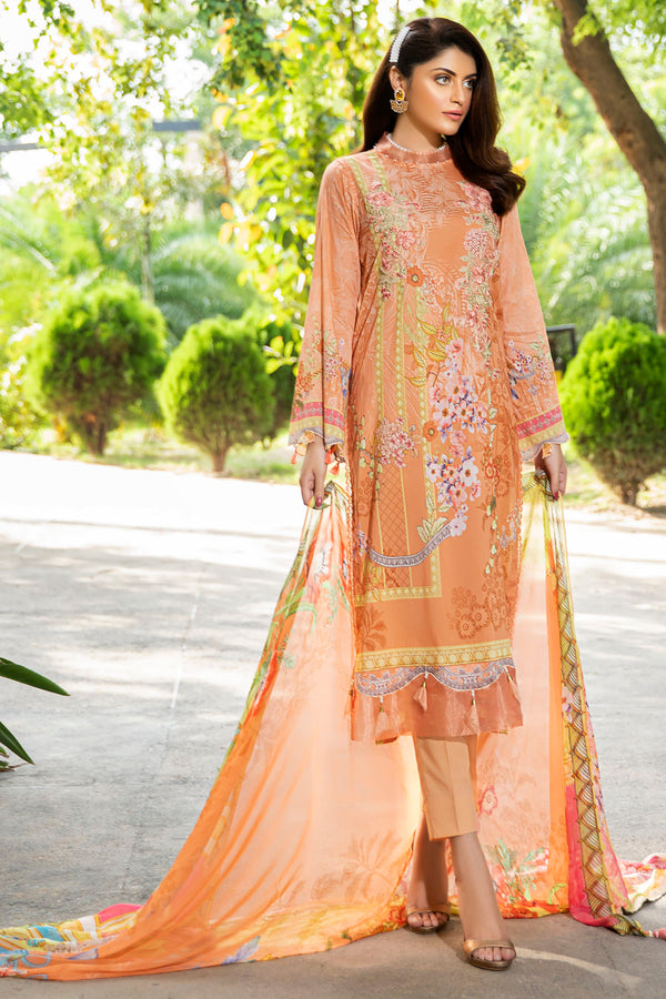 2543-CAMEL DIGITAL PRINTED LAWN UNSTITCHED