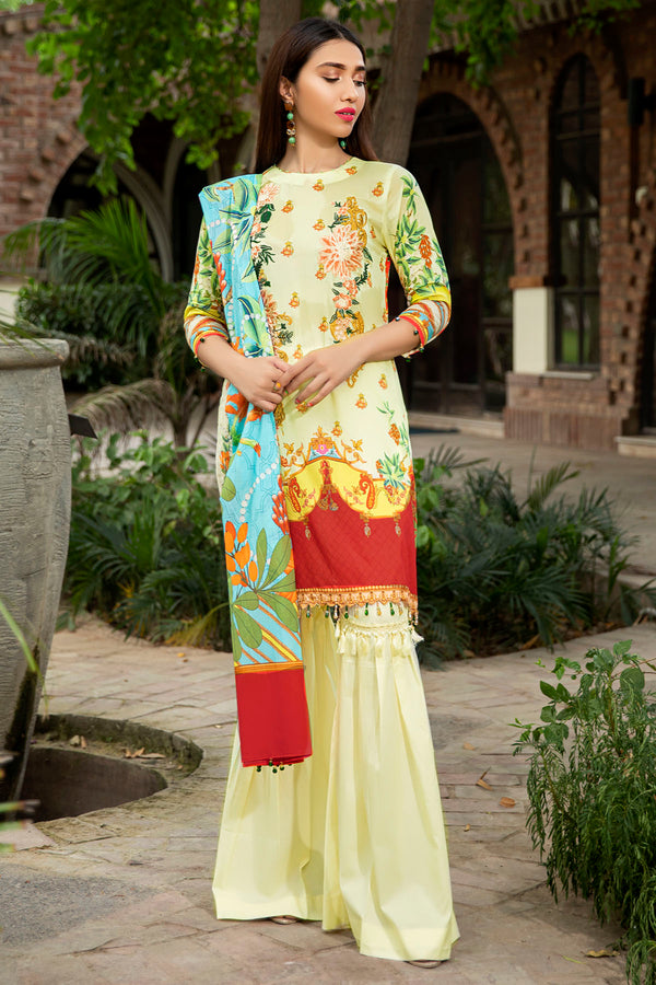 2544-LEMON-YELLOW DIGITAL PRINTED LAWN UNSTITCHED