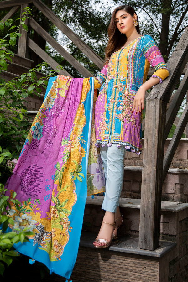 2547-SAPPHIRE-BLUE DIGITAL PRINTED LAWN UNSTITCHED