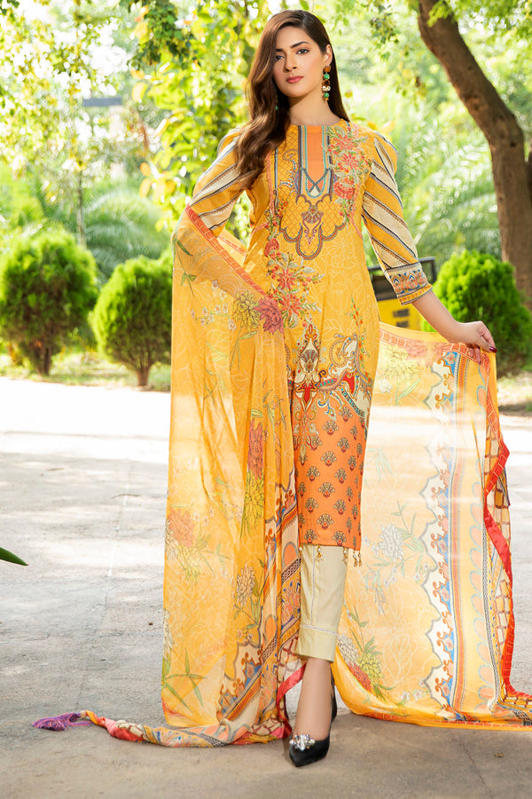 2548-SOFT-YELLOW DIGITAL PRINTED LAWN UNSTITCHED
