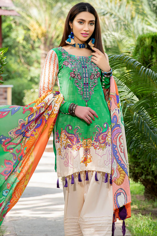 2550-GREEN DIGITAL PRINTED LAWN UNSTITCHED