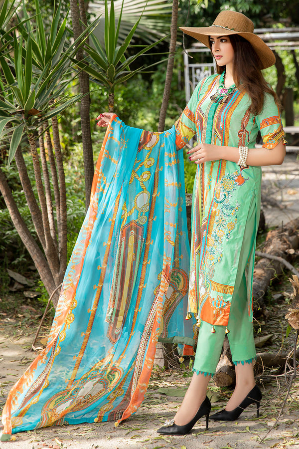 2551-PEARL-AQUA DIGITAL PRINTED LAWN UNSTITCHED