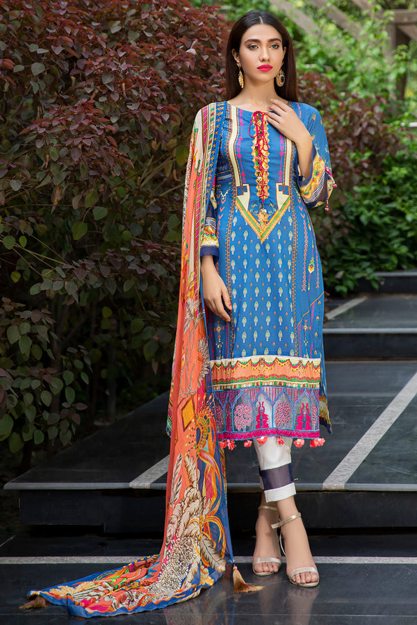 2552-AMBER DIGITAL PRINTED LAWN UNSTITCHED