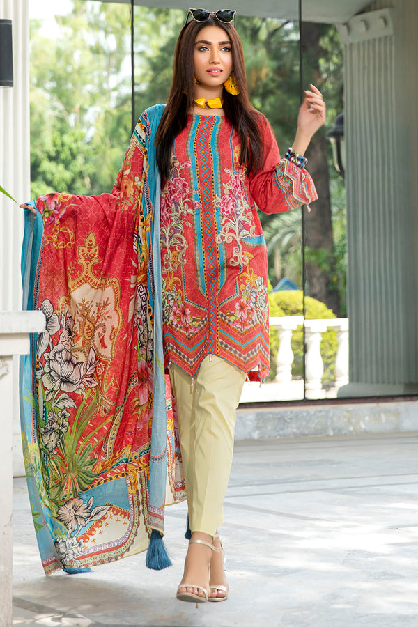 2554-RASPBERRY DIGITAL PRINTED LAWN UNSTITCHED