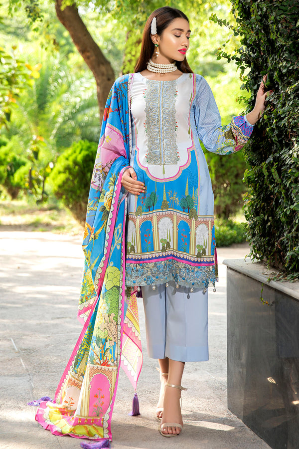 2556-PASTEL-BLUE DIGITAL PRINTED LAWN UNSTITCHED
