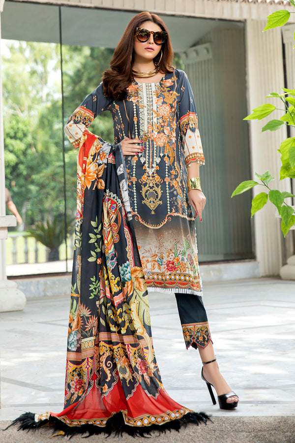 2557-COAL-BLACK DIGITAL PRINTED LAWN UNSTITCHED