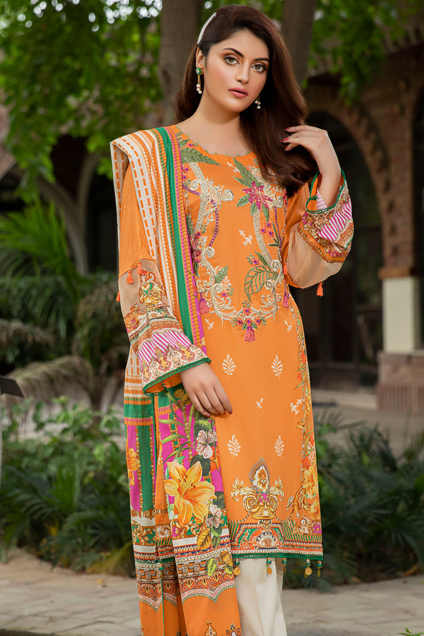 2560-RUST DIGITAL PRINTED LAWN UNSTITCHED
