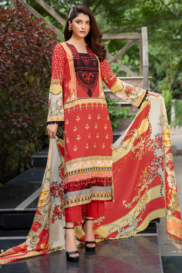 2561-RED DIGITAL PRINTED LAWN UNSTITCHED