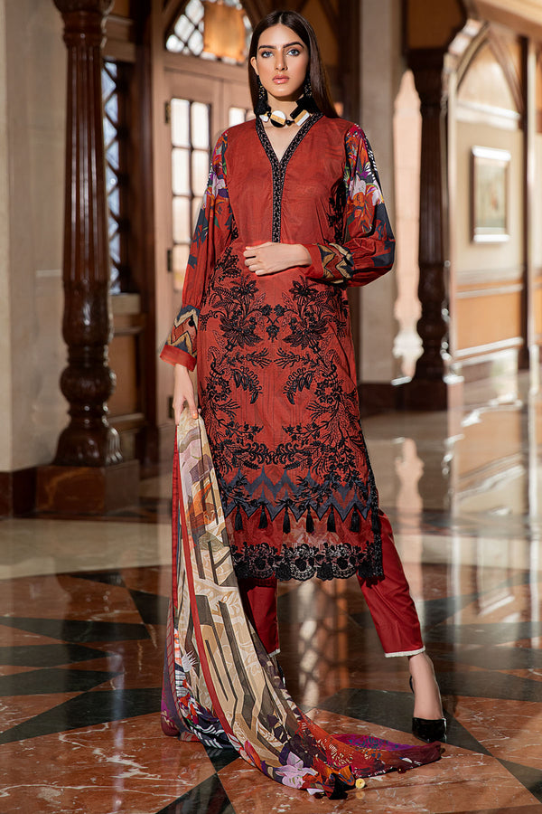 2595-RED-WOOD DIGITAL PRINTED LAWN UNSTITCHED