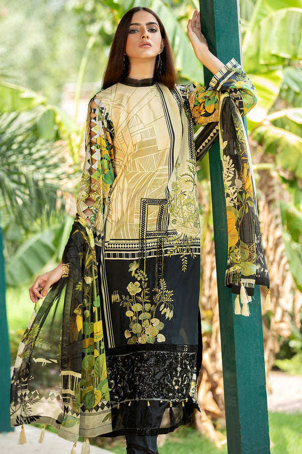 2597-OLIVE- GREEN DIGITAL PRINTED LAWN UNSTITCHED