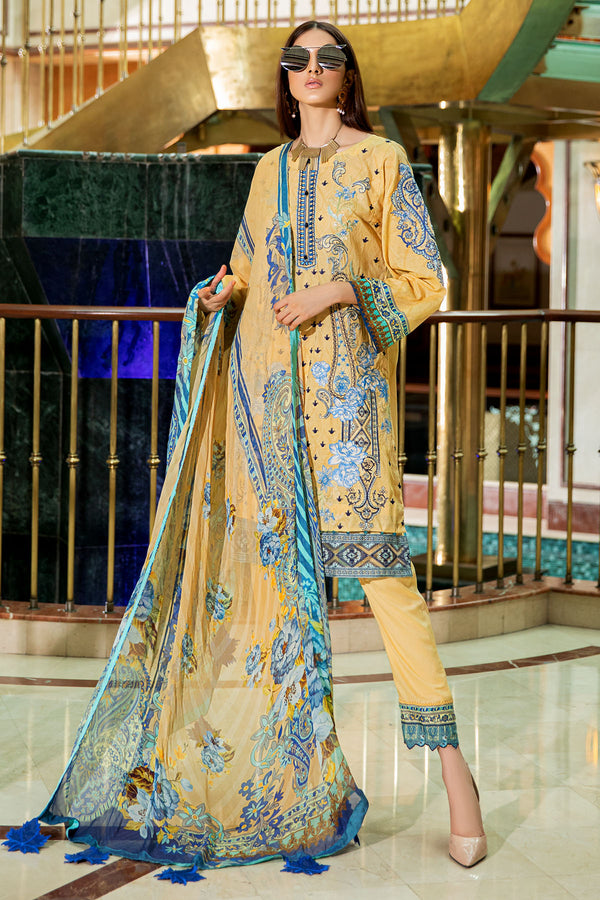 2604-PALE-GOLD DIGITAL PRINTED LAWN UNSTITCHED