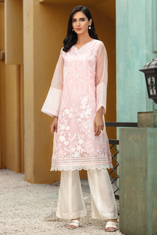 2686-FLOWARAL-PINK EMBROIDERED ORGANZA STITCHED