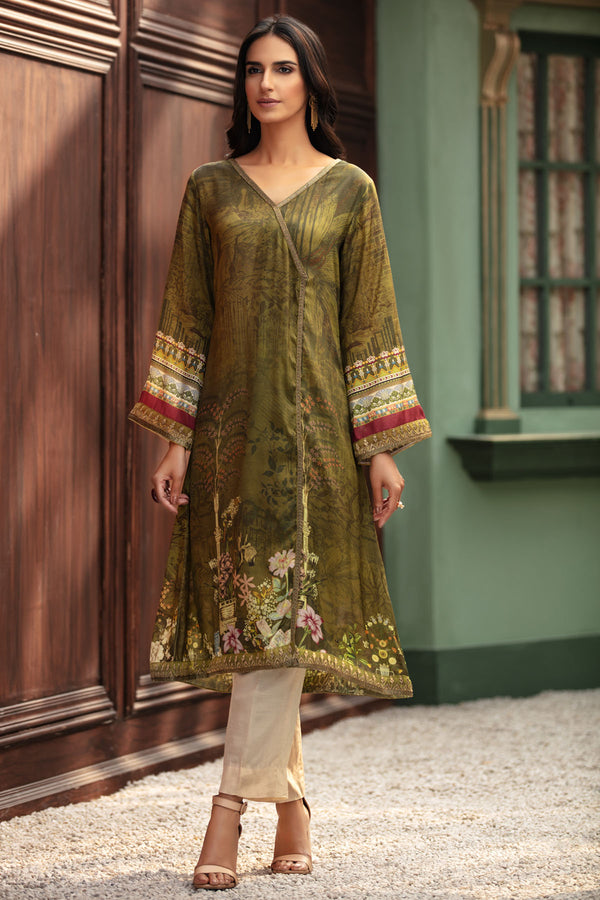 2688-CLASSY-GREEN DIGITAL PRINTED SILK STITCHED