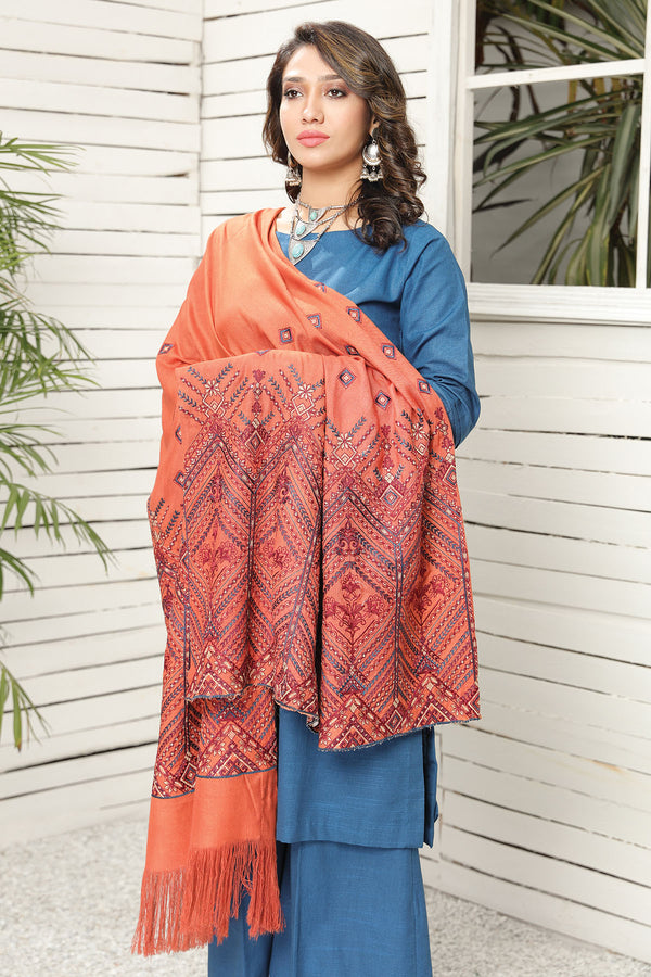 2738-FLAMING-GLOW EMBROIDERED STAPLE SHAWL