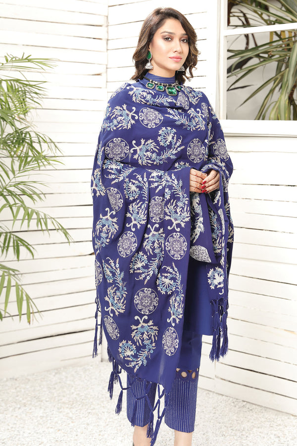2740-BLUE-SENSATION EMBROIDERED STAPLE SHAWL